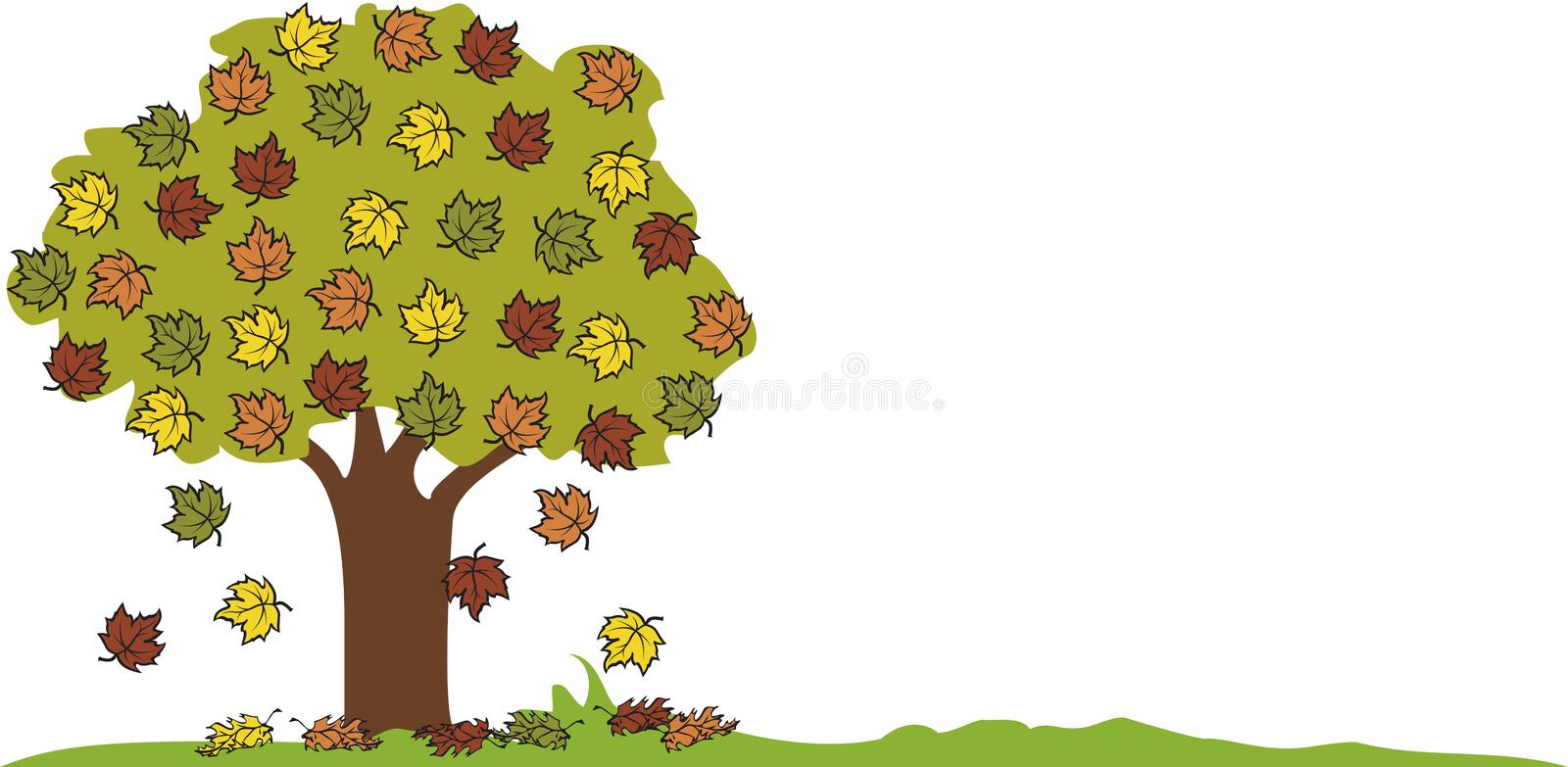 Autumn - tree with falling leaves. Vector image stock illustration
