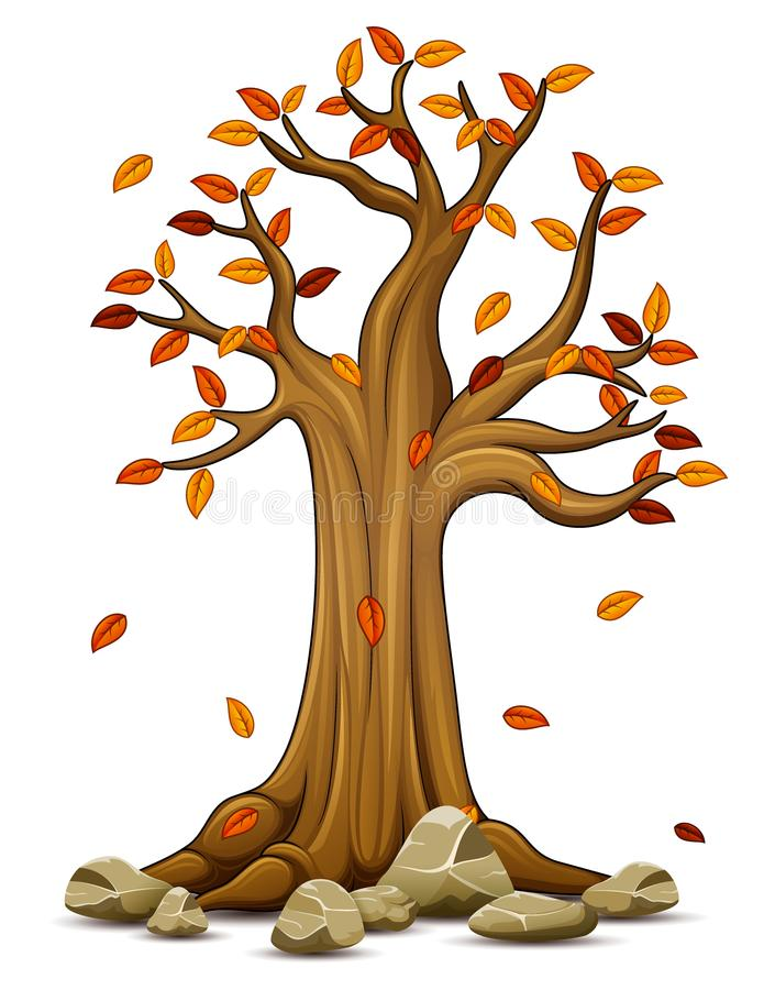 Autumn tree with falling leaves. Illustration of Autumn tree with falling leaves stock illustration