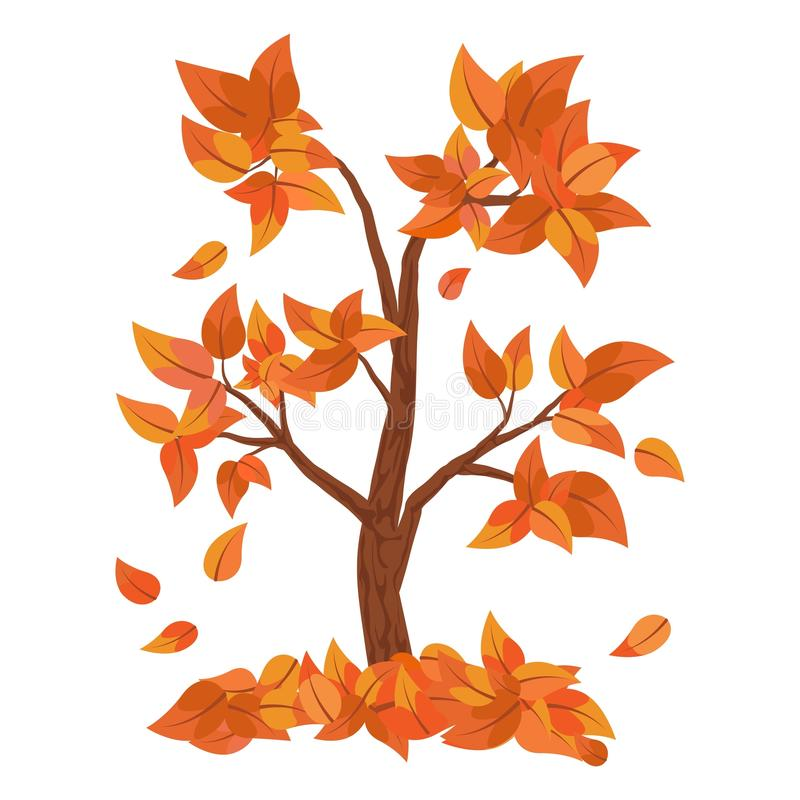 Autumn tree with falling leaves isolated on white background. Pile of leaves. royalty free illustration