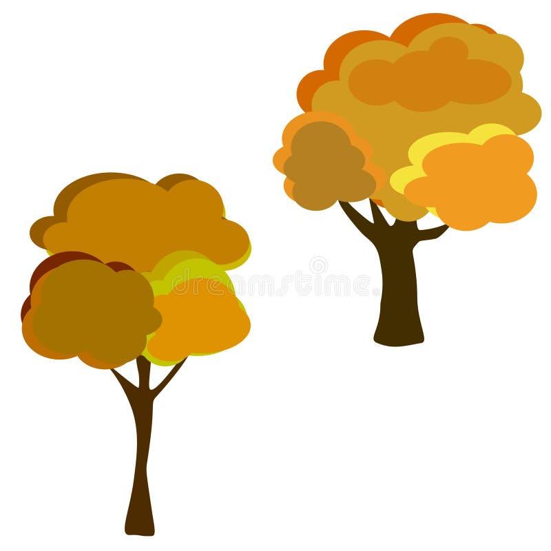 Autumn Tree With Falling Leaves su fondo bianco Progettazione elegante con lo spazio del testo ed i colori equilibrati ideali illustrazione vettoriale