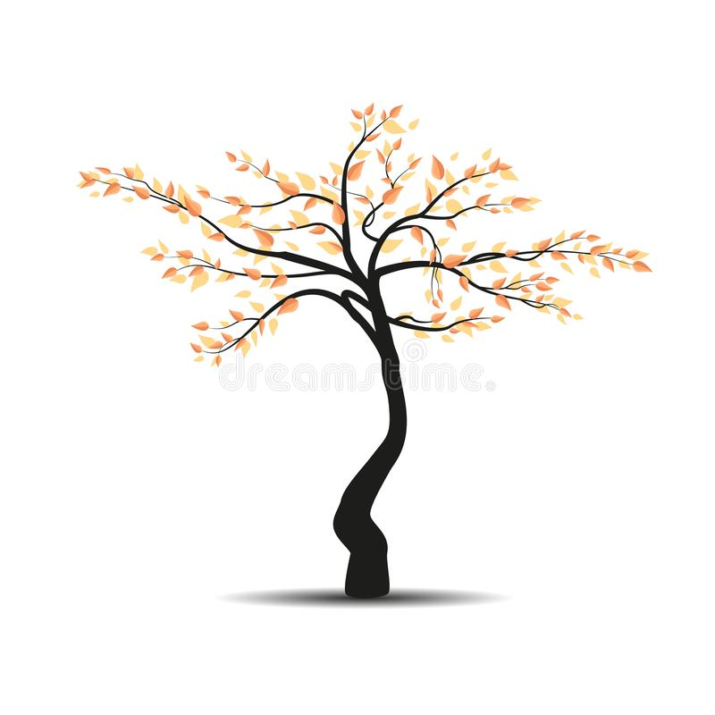 Autumn tree with falling leaves royalty free illustration
