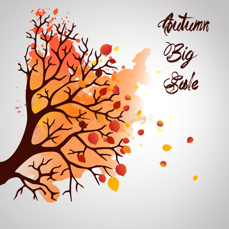 Autumn Tree With Falling Leaves on White Background. Elegant Design with Text Space and Ideal Balanced Colors. stock illustration