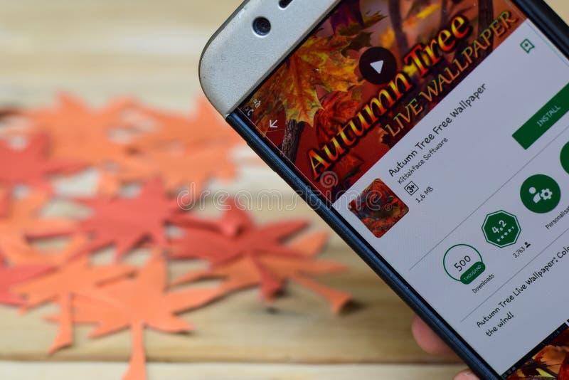 Autumn Tree Free Wallpaper App sur l'écran de Smartphone Autumn Tree est un logiciel public image stock