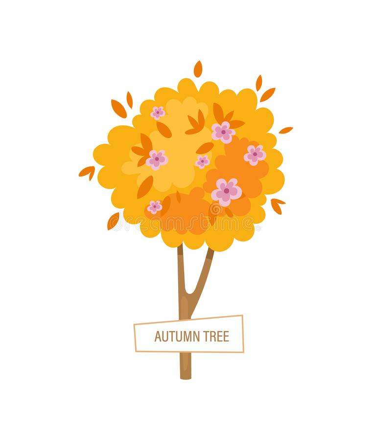 Agriculture and Farming. Autumn lush gardening tree, with beautiful flowers royalty free illustration