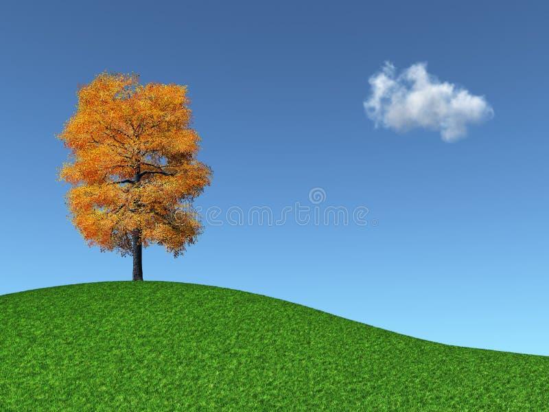 Autumn Tree on a grassy hill
