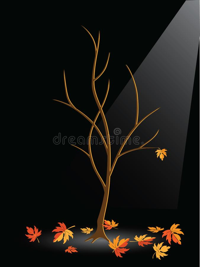 Autumn tree without leaves stock photo
