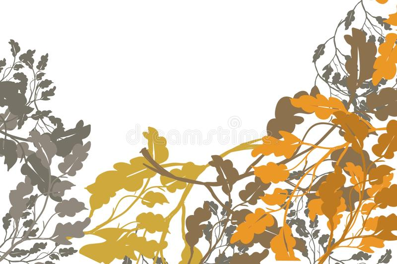 Autumn tree leaves in fall gold grey brown layered color in corner of page, for 3D decorative border edge background royalty free illustration