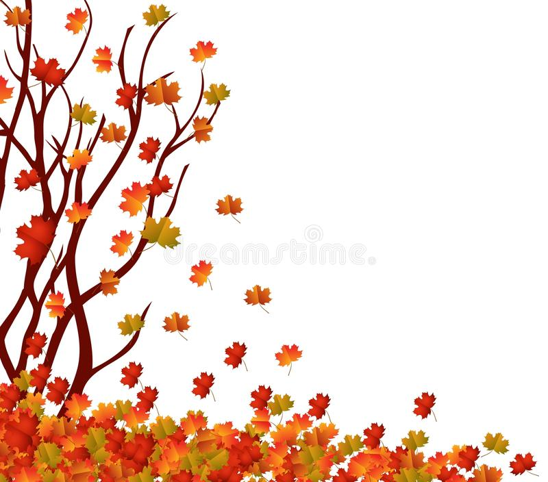 Autumn tree and pile of leaves. Fall Leaves Background stock illustration