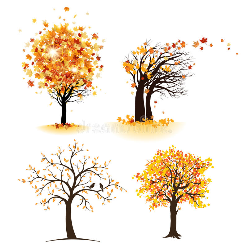 Autumn tree set. With leaves