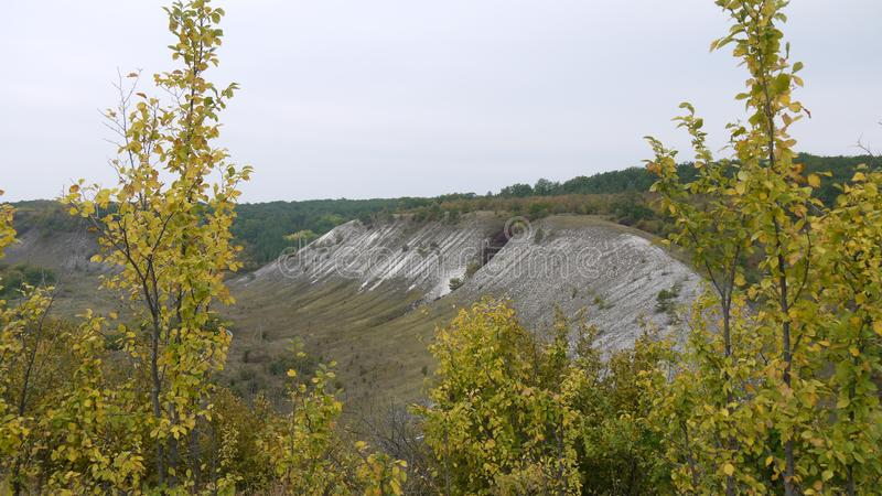 Autumn trees on the background of the chalk mountains stock image