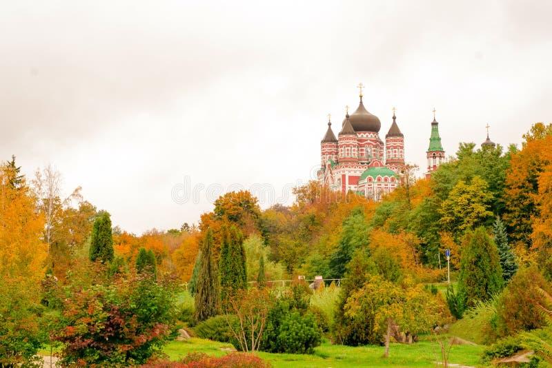 Autumn trees church landscape view stock photo