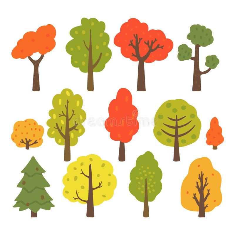 Autumn trees collection isolated on white background. Vector illustration stock illustration
