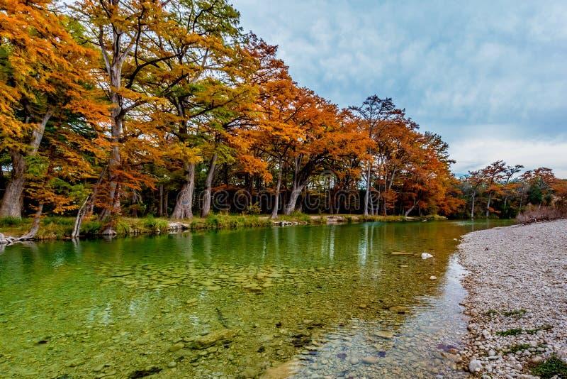 Autumn Trees en el río de Frio en Garner State Park, Tejas imágenes de archivo libres de regalías