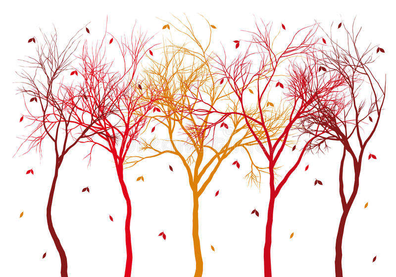 Autumn trees with falling leaves, vector. Autumn trees with colorful falling leaves, vector background vector illustration