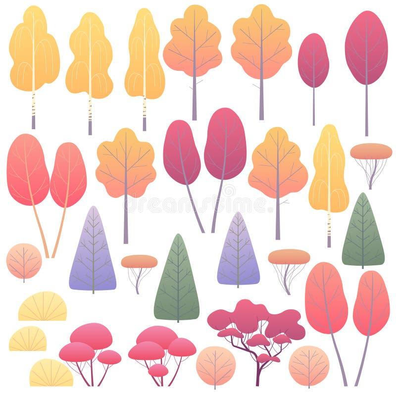 Autumn Trees liso e arbustos ajustados ilustração stock