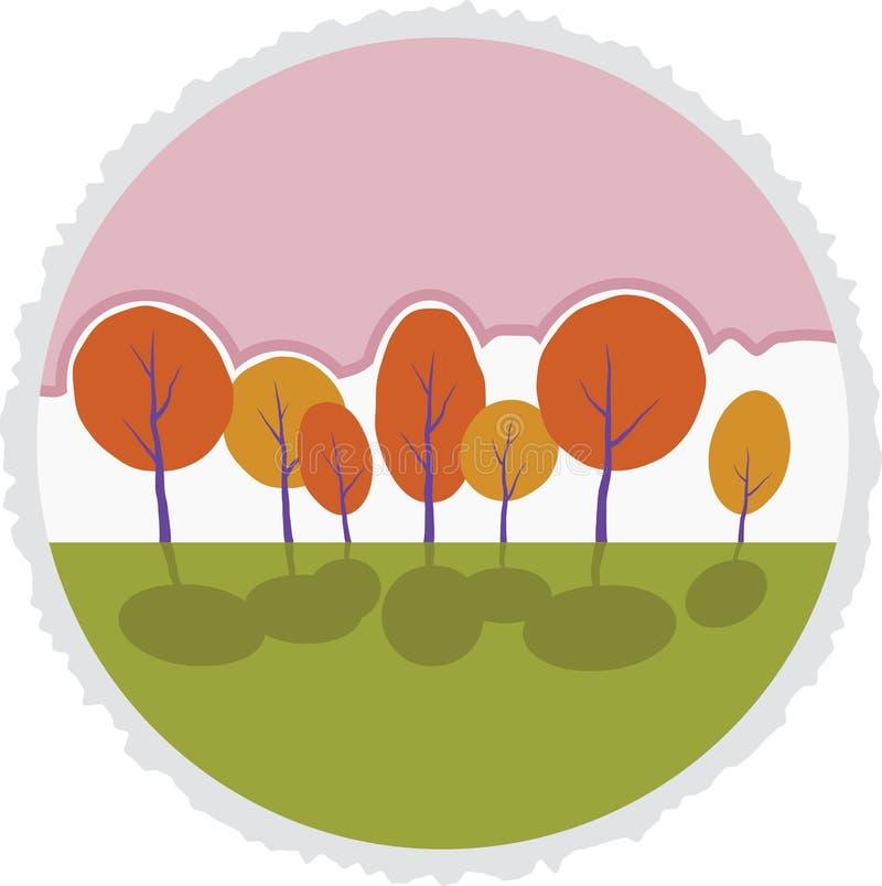 Autumn trees in park. Vector cartoon landscape. vector illustration