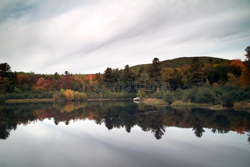 Autumn trees reflecting on lake stock photography