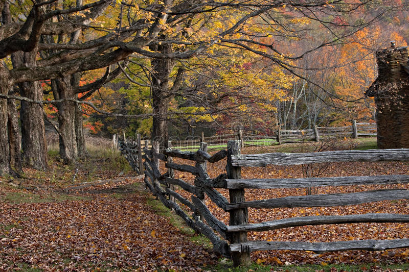 Autumn Log Cabin With Rail Fence Stock Photo Image Of