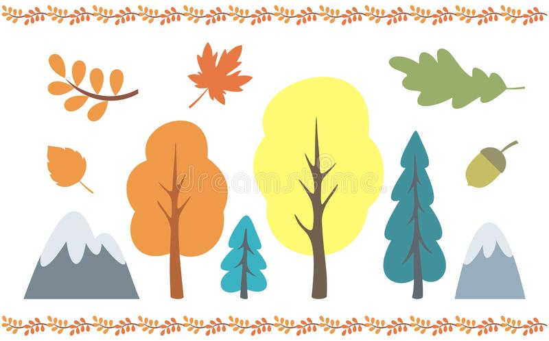 Autumn trees set. Autumn trees and leaves set. Vector illustrations isolated on a white background vector illustration