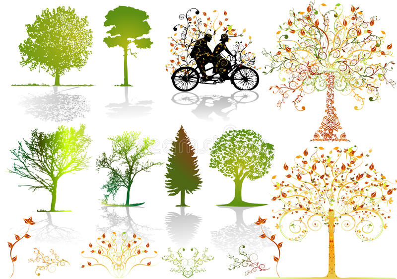 Download Autumn trees - vector stock vector. Image of lawn, image - 16427758