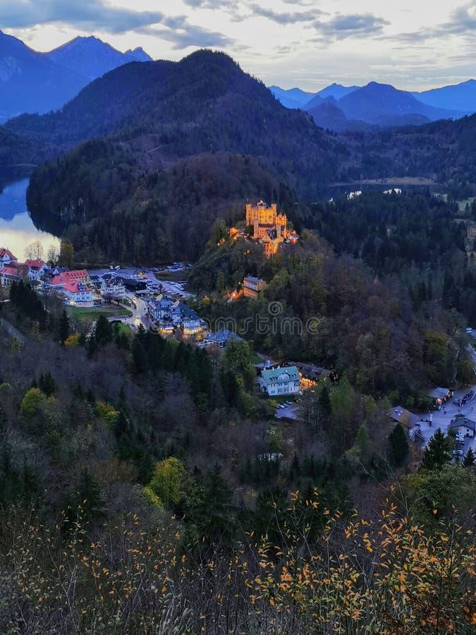Autumn twilight view over Hohenschwangau castle stock photo