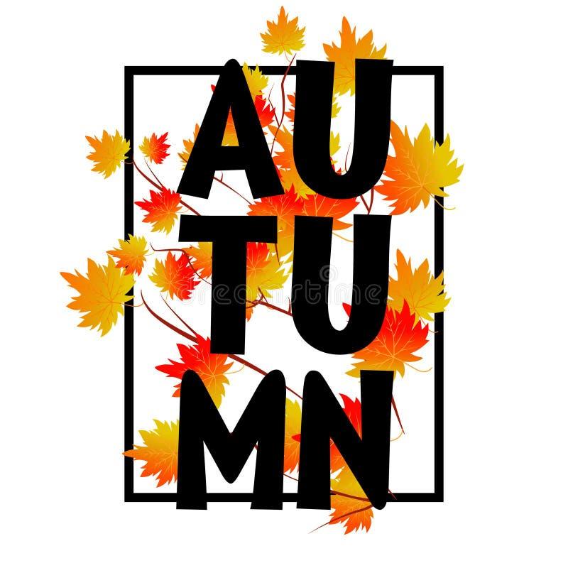 Autumn typographic. Fall leaf. Vector. Illustration EPS 10 stock illustration