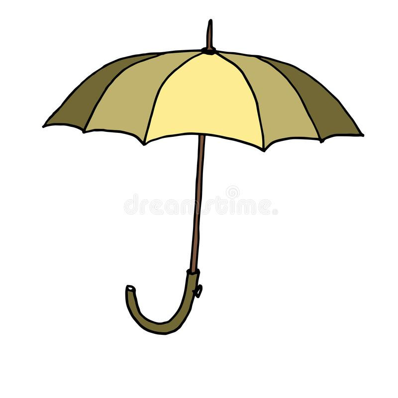 Autumn umbrella. Outline with different colors on white background. Vector illustration stock illustration