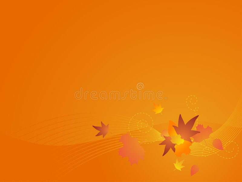 Autumn Vector Background. Abstract autumn themed backgroud with custom leaves, waves, and swirls