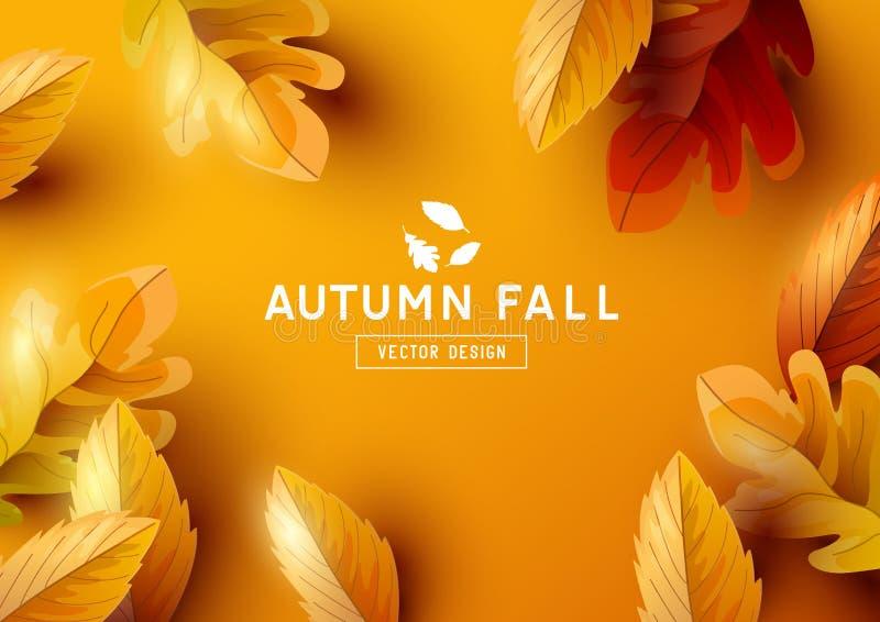 Autumn Vector Background avec les feuilles en baisse illustration libre de droits