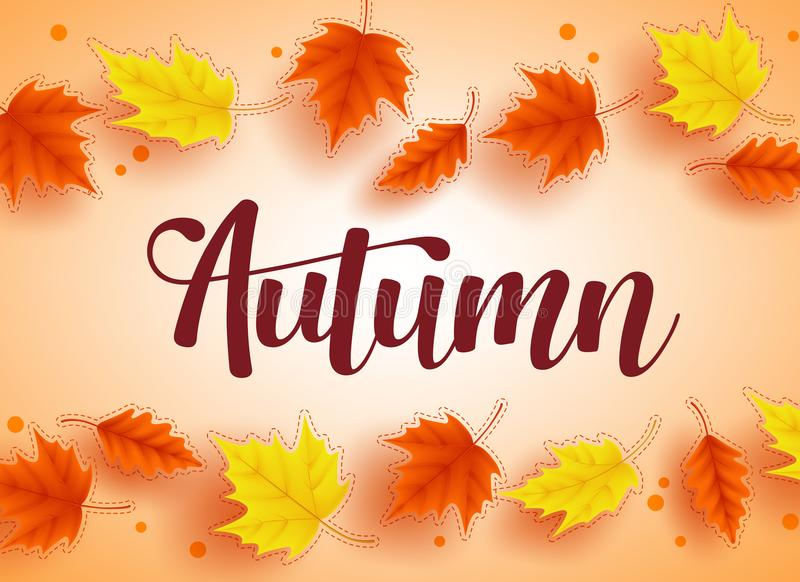 Autumn vector background design with colorful fall season maple leaves elements royalty free illustration