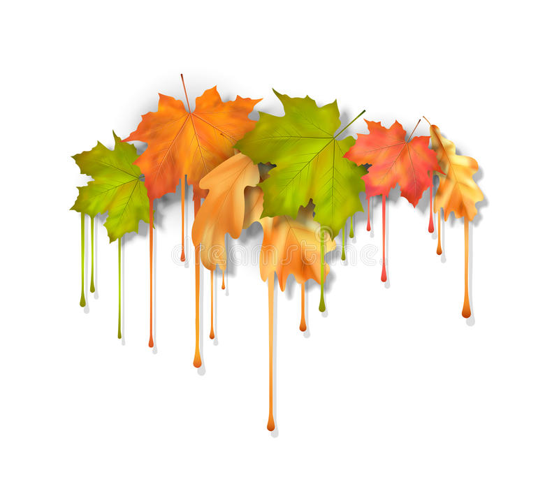 Autumn Vector Dripping Paint Leaves illustrazione di stock