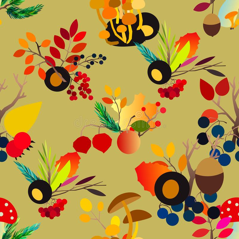 Autumn vector seamless pattern with berries, acorns, pine cone, mushrooms, branches and leaves. stock illustration