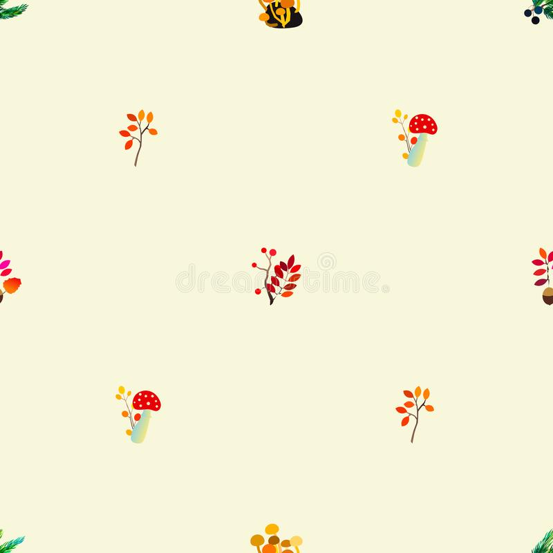 Autumn vector seamless pattern with berries, acorns, pine cone, mushrooms, branches and leaves. royalty free illustration