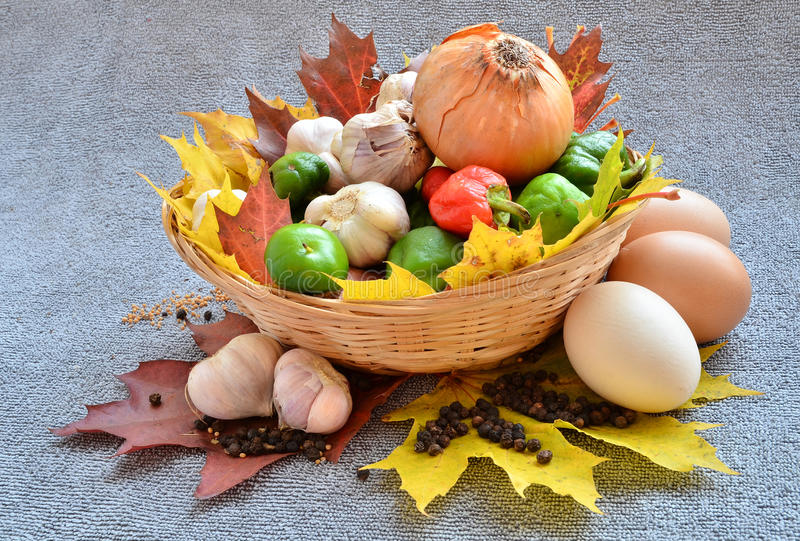 Autumn vegetables. Colorful autumn vegetable hardvest in the basket royalty free stock photo