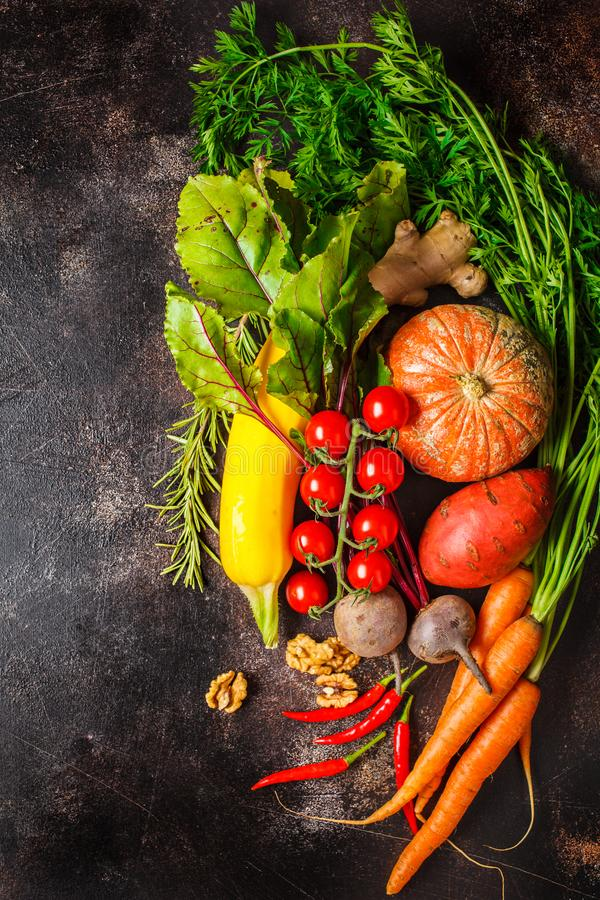 Autumn vegetables background. Pumpkin, zucchini, sweet potatoes, carrots and beets on dark background royalty free stock images