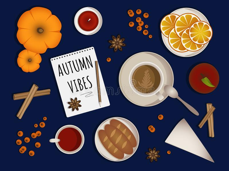 Autumn vibes - upper table view composition royalty free illustration