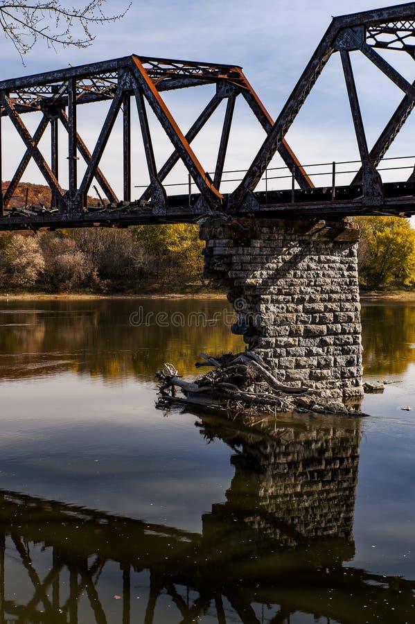 Abandoned & Collapsing Coxton Railroad Bridge - Luzerne County, Pennsylvania stock photos