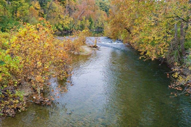 Autumn View av den Roanoke floden royaltyfria foton