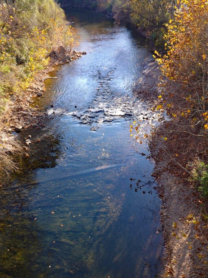 Autumn View av den Roanoke floden arkivbild