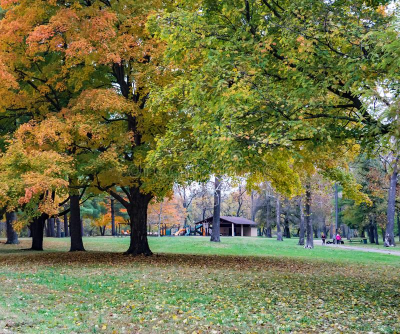 Autumn View av Smith Park, Roanoke, Virginia, USA royaltyfri fotografi