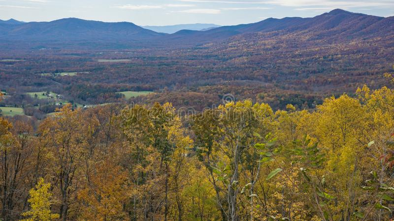An Autumn of View of the Mountains and Goose Creek Valley - 3. Autumn view of the Blue Ridge Mountains and Goose Creek Valley located in Bedford County Virginia stock photo