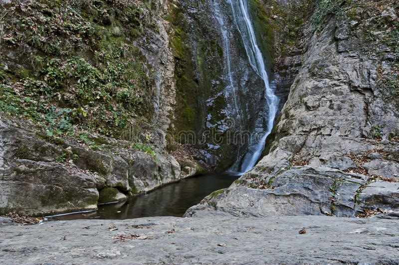 Autumn view of bottom part at waterfall Skoka or  Jump of river Kozniza in Central Balkan, near to Teteven town. Bulgaria stock images