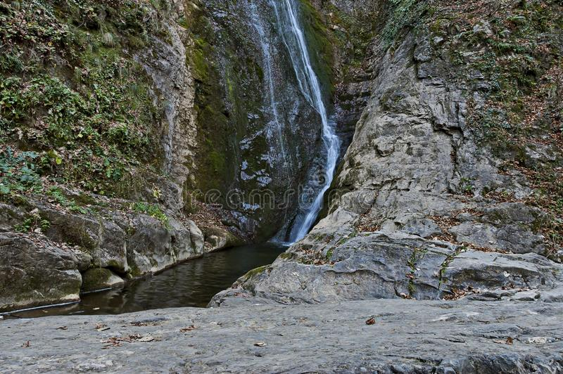 Autumn view of bottom part at waterfall Skoka or  Jump of river Kozniza in Central Balkan, near to Teteven town. Bulgaria stock image
