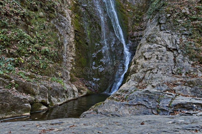 Autumn view of bottom part at waterfall Skoka or  Jump of river Kozniza in Central Balkan, near to Teteven town. Bulgaria stock photos