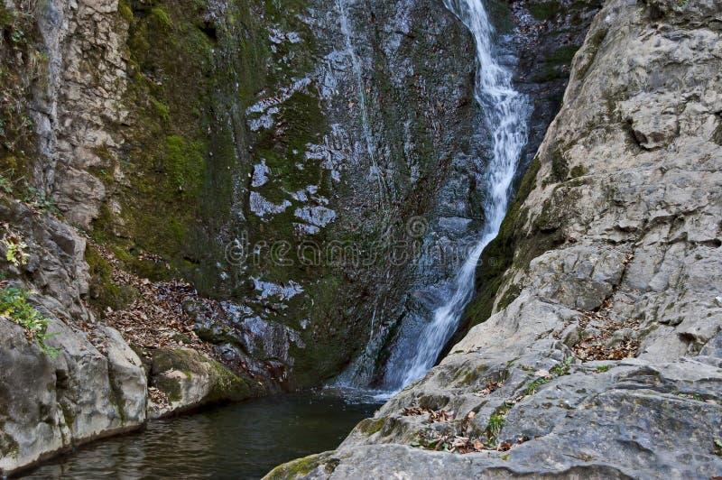 Autumn view of bottom part at waterfall Skoka or  Jump of river Kozniza in Central Balkan, near to Teteven town. Bulgaria royalty free stock photo