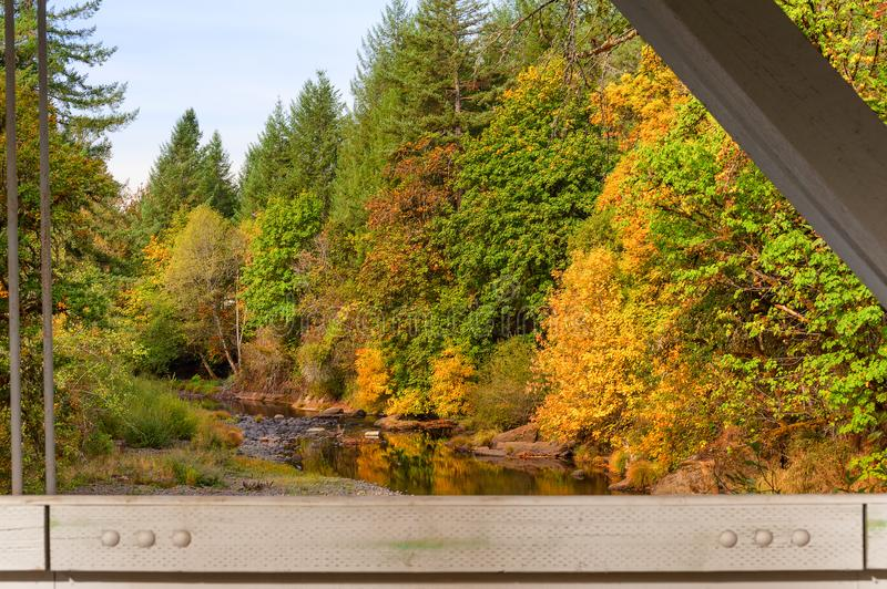 View from Hannah Covered Bridge in Oregon royalty free stock images