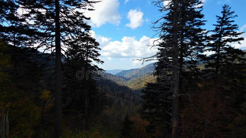 Autumn view of Great Smoky Mountain National Park. A late October view of the Great Smoky Mountain Foliage changing color in 2018 along the mountainside royalty free stock photos