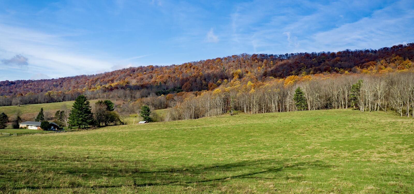 Autumn View from Johns Creek Mountain - 2. Autumn view from Johns Creek Mountain with a green meadow in the foreground located in Jefferson National Forest royalty free stock photo