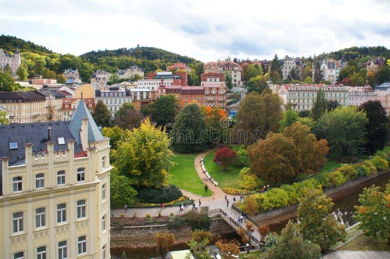 Autumn view of Karlovy Vary (Karlsbad) royalty free stock photos