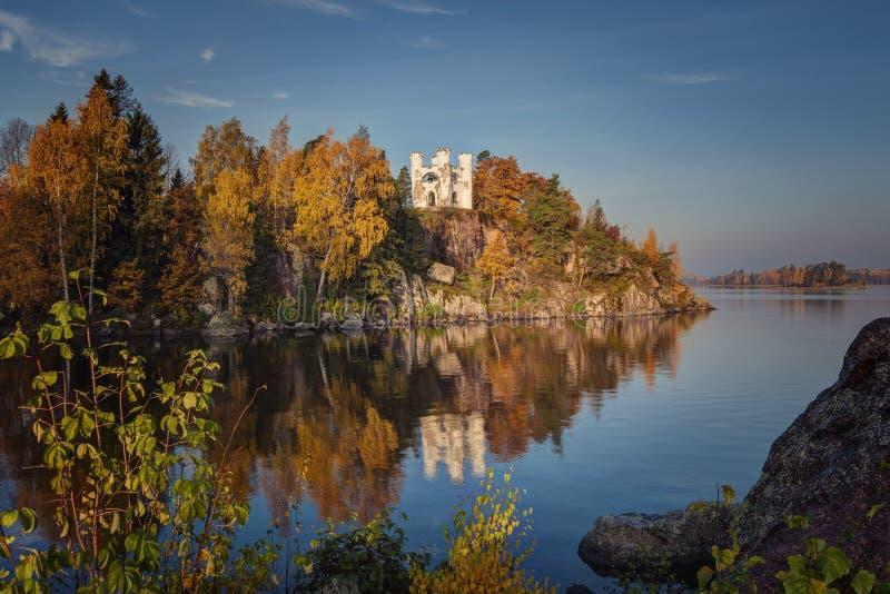 Autumn view of the Monrepos Park, Vyborg, Leningrad Region. Beatiful autumn landscape stock photography